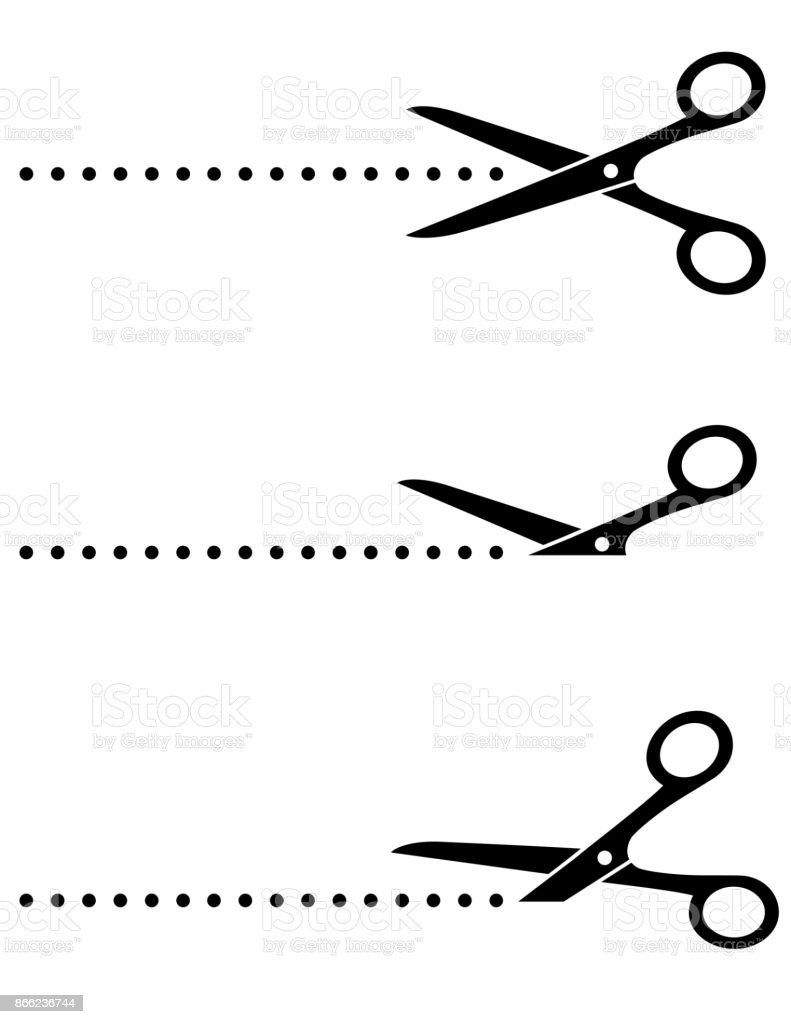 scissors icon with cut line vector art illustration
