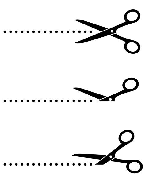 scissors icon with cut line black scissors icon set with cut line on white background scissors stock illustrations