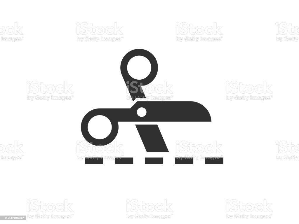 Scissors icon with cut lines - arte vettoriale royalty-free di Attrezzi da lavoro