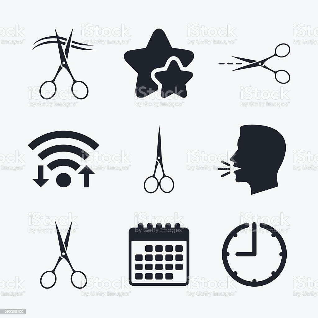 Scissors icons. Hairdresser or barbershop symbol royalty-free scissors icons hairdresser or barbershop symbol stock vector art & more images of badge