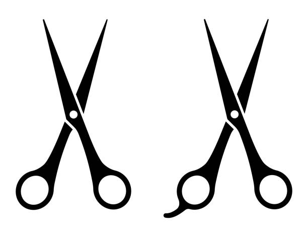 illustrazioni stock, clip art, cartoni animati e icone di tendenza di scissors icons set on white background. vector - forbici
