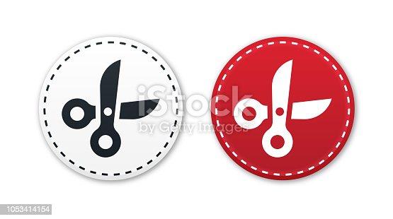 Scissors cutting paper icon concept.