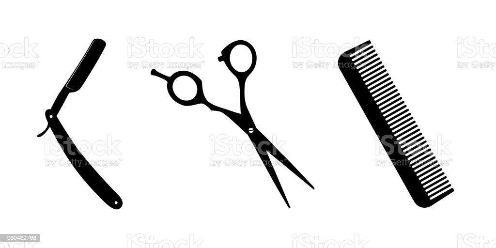Tesoura, faca para fazer a barba, pentear-se em branco - ilustração de arte em vetor