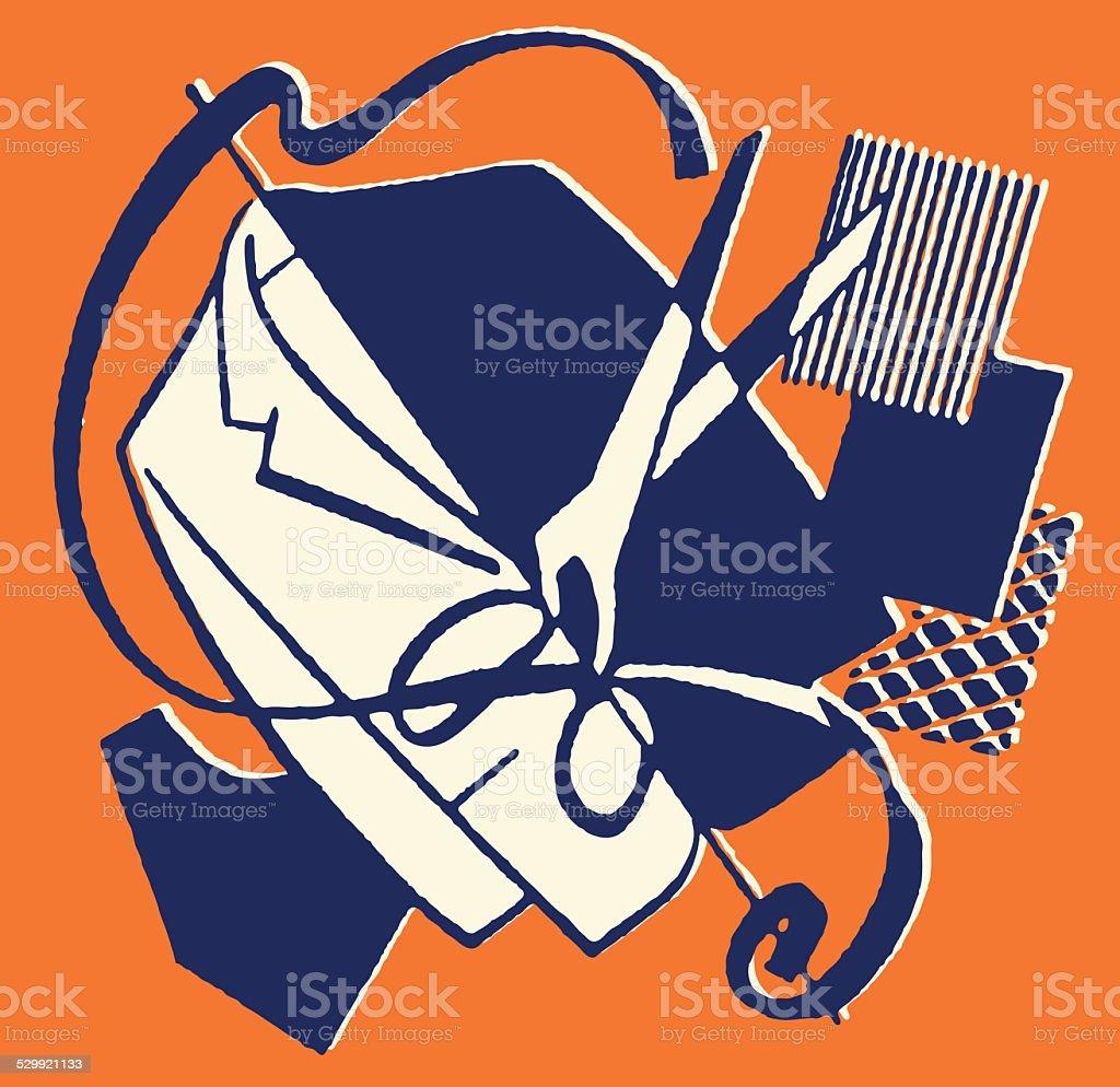 Scissors Men's Jacket Fabric Swatches vector art illustration