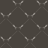 Scissors Seamless Pattern Isolated on Grey Background.