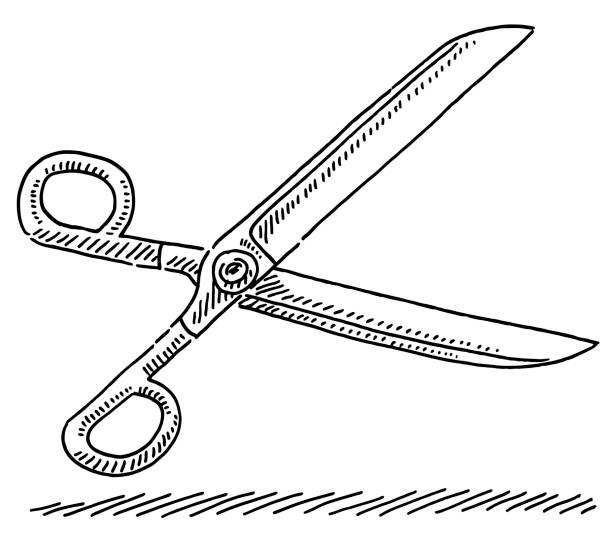 Scissors Symbol Drawing vector art illustration