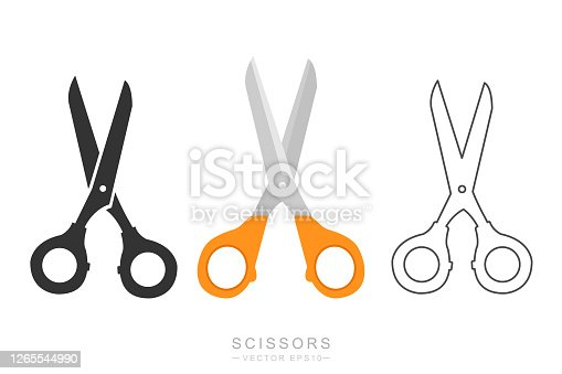 istock Scissors symbol. Flat, colorful, line designs. Isolated vector. 1265544990