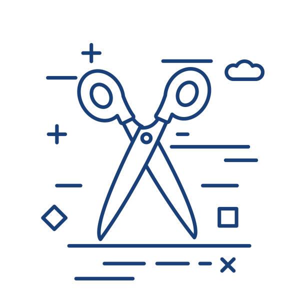 Scissors Thin Line Education Icon vector art illustration