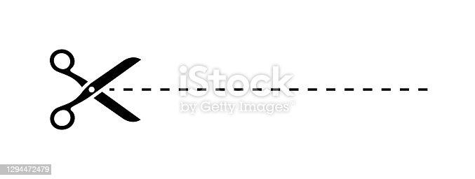 Scissors Trim Line Icon. Vector Stock Illustration