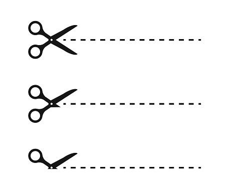 Scissors, trim line icons set. Vector line illustration on white background