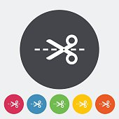 Scissors. Single flat icon on the circle. Vector illustration.