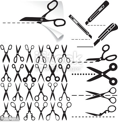 Set of modern and decorative old scissors icons, box cutter knife, dashed lines. Cut here.