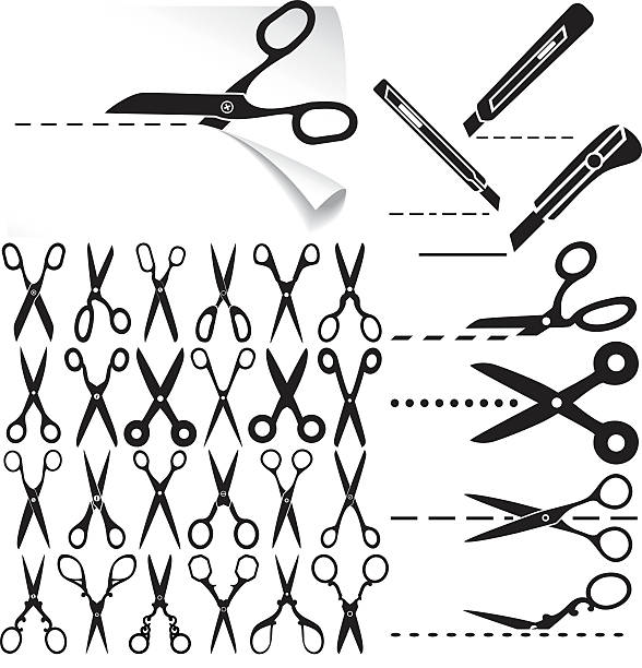 Scissors Set of modern and decorative old scissors icons, box cutter knife, dashed lines. Cut here. utility knife stock illustrations