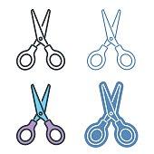 Scissors vector outline icon set.