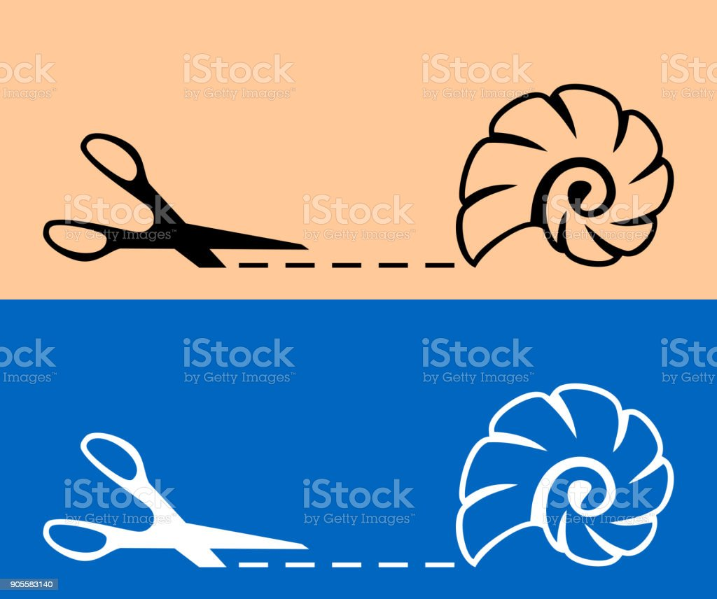 Scissors with cut line and cockle shell icon vector art illustration