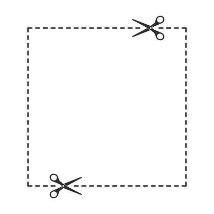 Scissors with cut line.