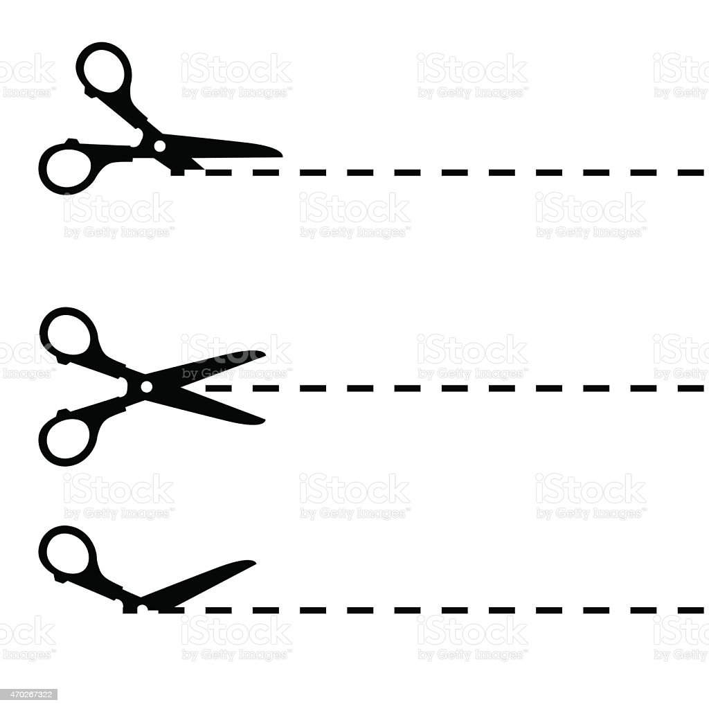 Scissors with cut lines isolated on white background vector art illustration
