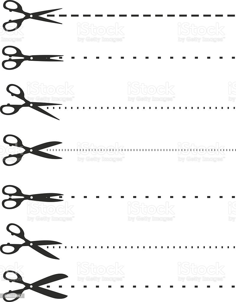 Scissors with cut lines vector art illustration