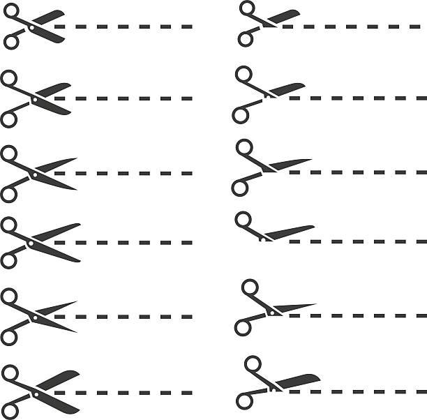 nożyczki z linii cięcia - ciąć stock illustrations