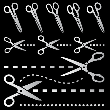 Scissors with Dotted Line black & white vector icon set