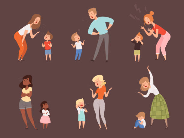 stockillustraties, clipart, cartoons en iconen met uitschelden kinderen. kinderen die ouders vader en moeder droevige uitdrukkingsreactievectorbeeldverhaalkarakters schreeuwen - couple fighting home