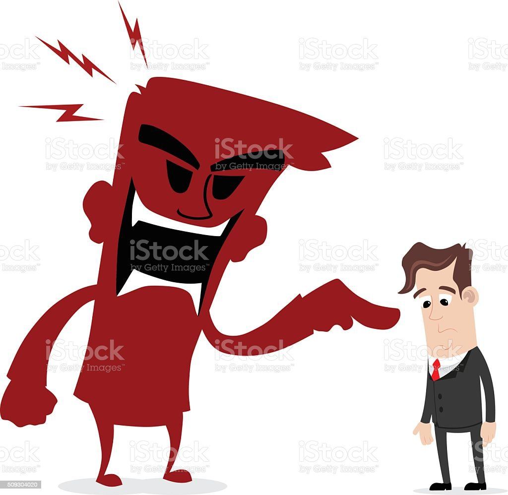 Scolded by boss vector art illustration