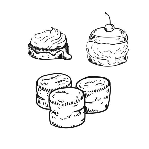 bildbanksillustrationer, clip art samt tecknat material och ikoner med scones skiss - scone