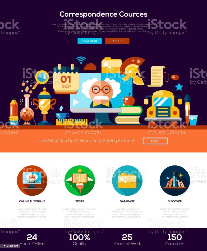 Scool, educação site cabeçalho Bandeira com elementos de Webdesign - ilustração de arte em vetor