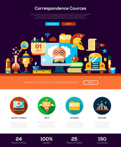 ilustrações, clipart, desenhos animados e ícones de scool, educação site cabeçalho bandeira com elementos de webdesign - aula de ciências