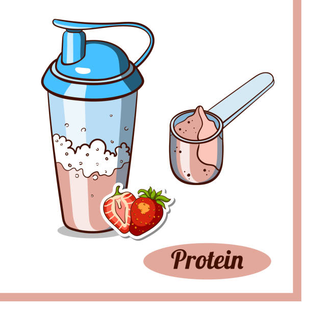illustrazioni stock, clip art, cartoni animati e icone di tendenza di scoop_protein_shaker_strawberry - fruit juice bottle isolated