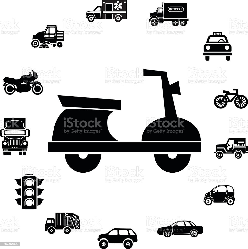 scooter and transportaion icon ring vector art illustration