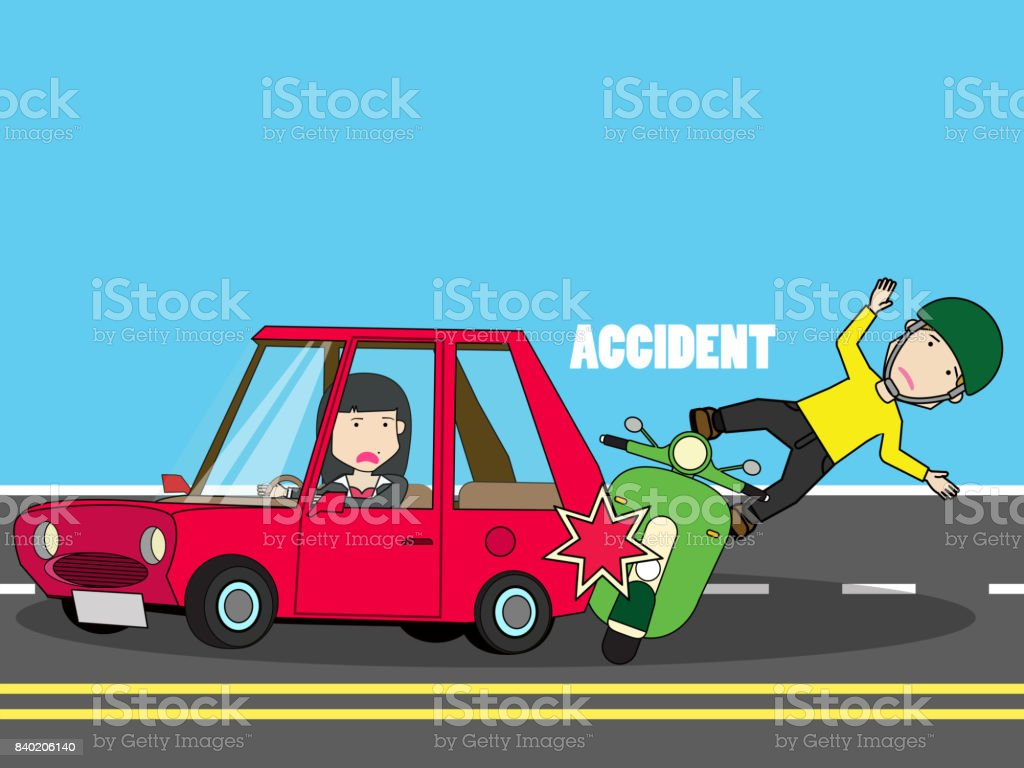 Scooter crash with woman car. vector art illustration