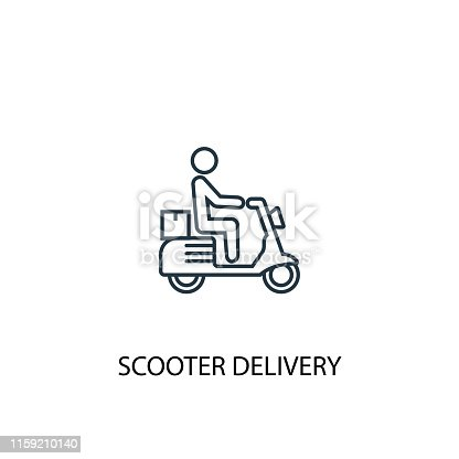 scooter delivery concept line icon. Simple element illustration. scooter delivery concept outline symbol design from Delivery set. Can be used for web and mobile UI/UX