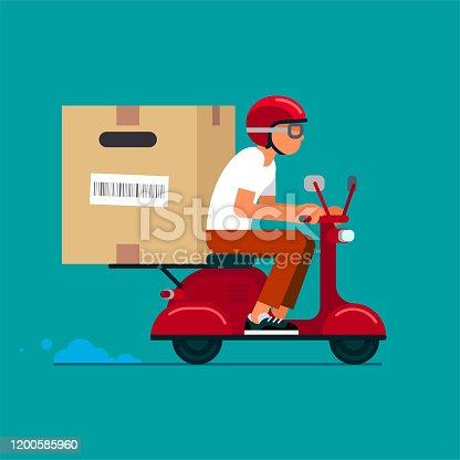 istock Scooter Delivery Service 1200585960