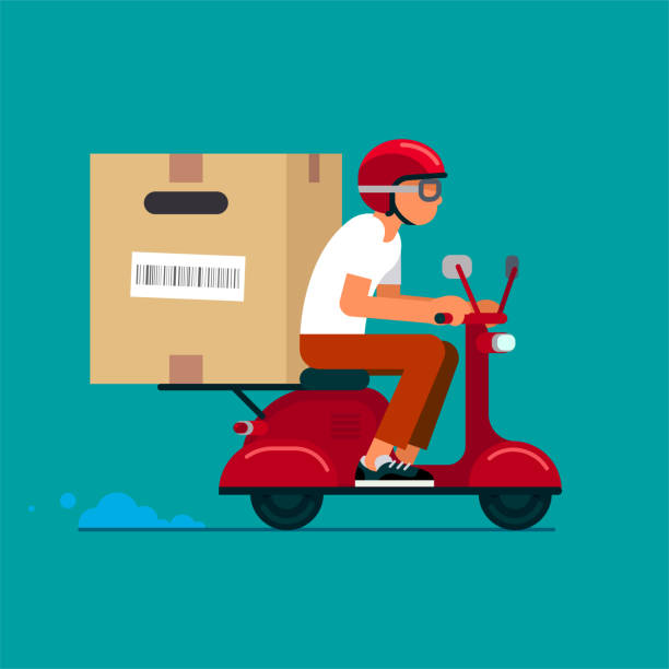 stockillustraties, clipart, cartoons en iconen met scooter delivery service - step