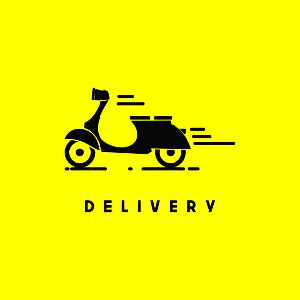 ilustrações de stock, clip art, desenhos animados e ícones de scooter delivery vector template design - moto