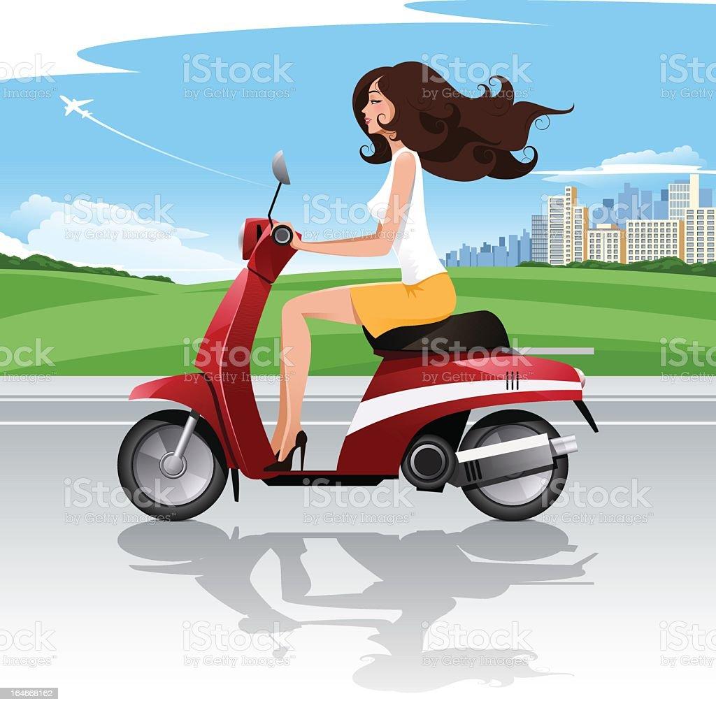 Scooter driver vector art illustration