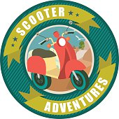 round emblem inside the scooter in nature background