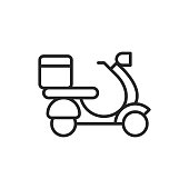 Scooter, Food Delivery Outline Icon with Editable Stroke.