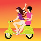 Gradients were used to create this image of two young girls having fun on their lime green scooter.  Extra large JPG, thumbnail JPG, and Illustrator 8 compatible EPS are included in zip.