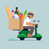istock Scooter Grocery Delivery 1227442969