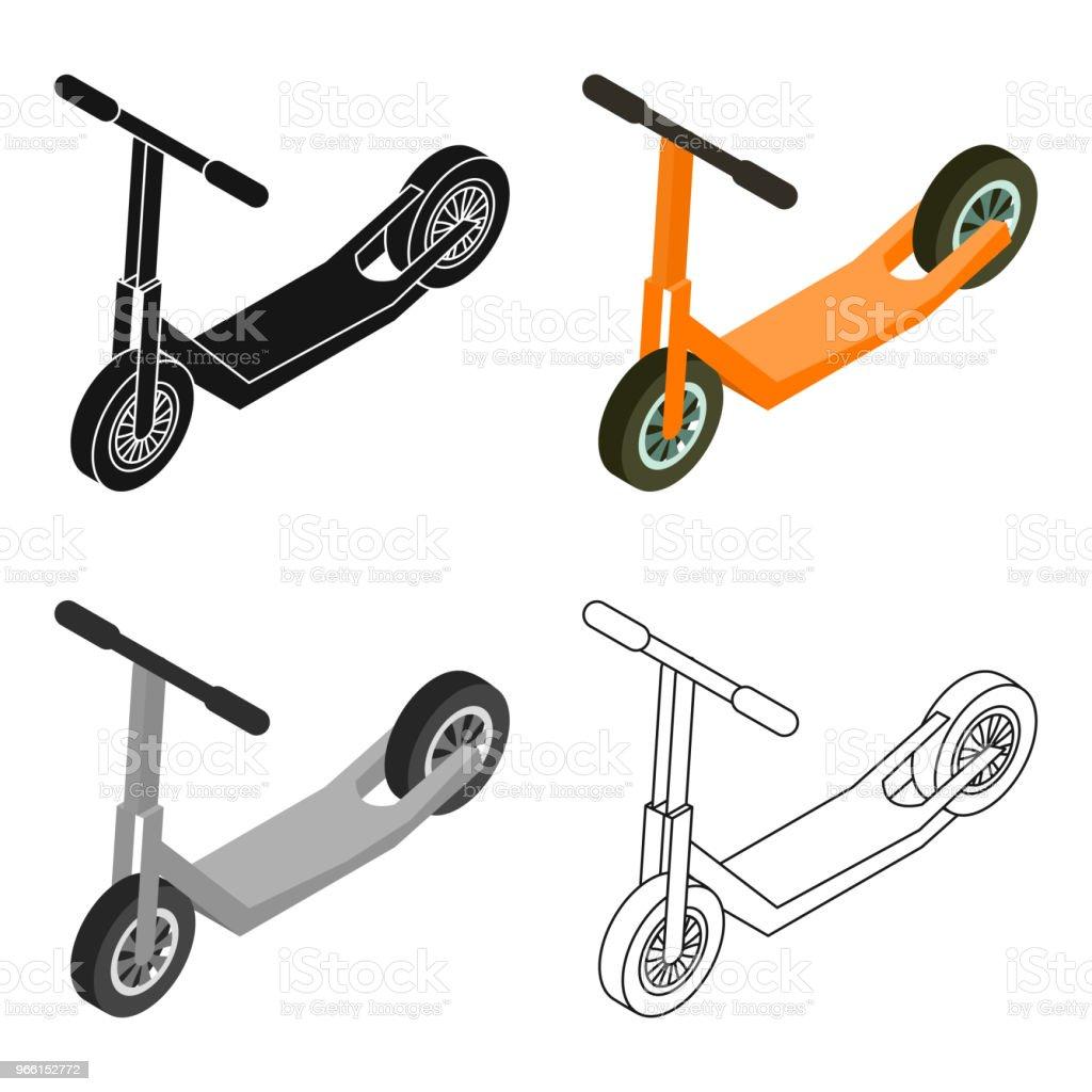 Scooter-ikonen i tecknad stil isolerad på vit bakgrund. Transport symbol Lager vektor web illustration. - Royaltyfri Aktivitet vektorgrafik