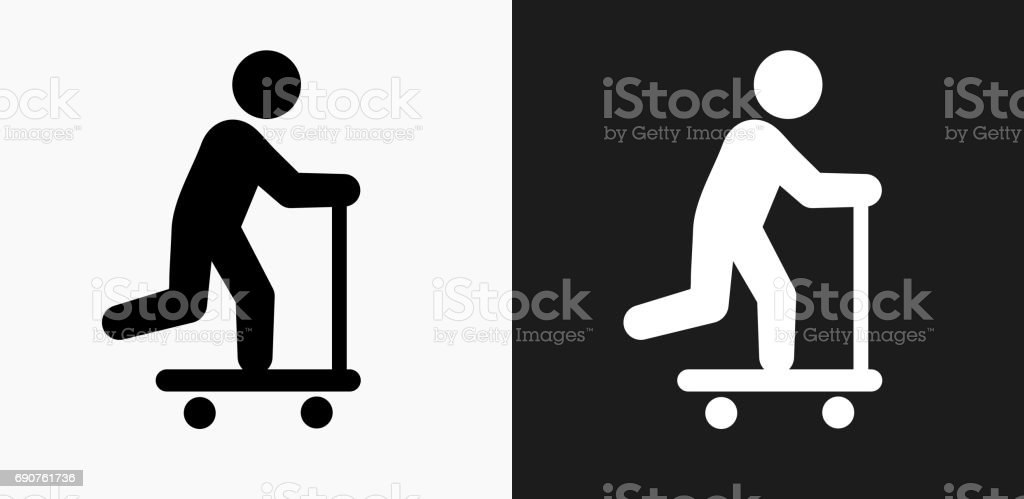 Scooter Icon on Black and White Vector Backgrounds vector art illustration