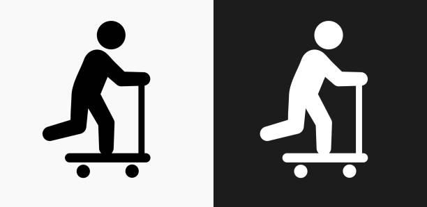stockillustraties, clipart, cartoons en iconen met scooter pictogram op zwart-wit vector achtergronden - step