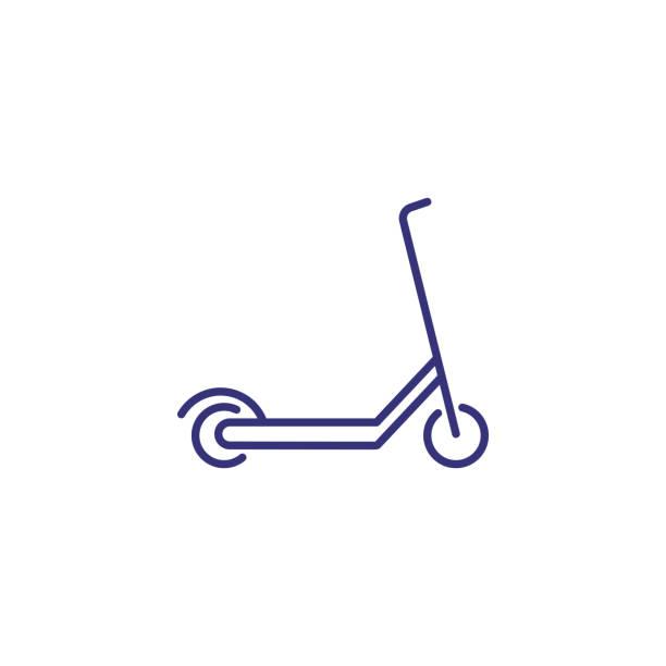 stockillustraties, clipart, cartoons en iconen met scooter lijn pictogram - step