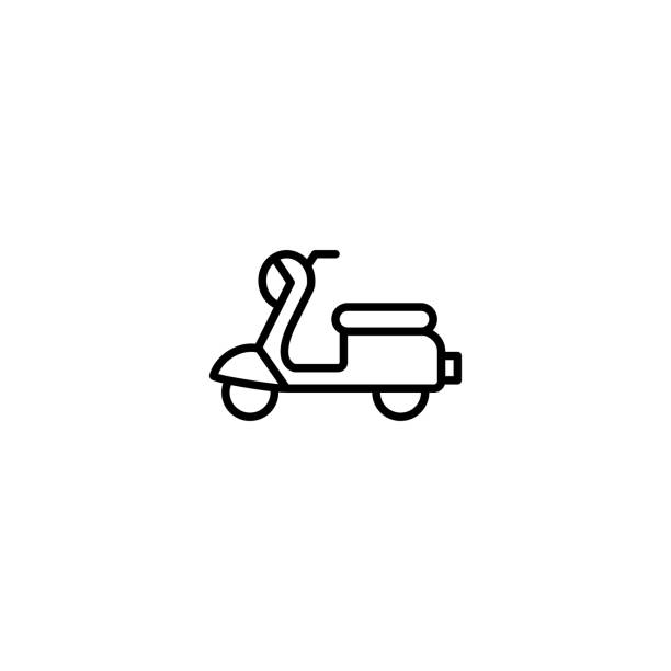 roller, moped-symbol vektor-illustration - moped stock-grafiken, -clipart, -cartoons und -symbole