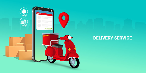 scooter on mobile. E-commerce concept