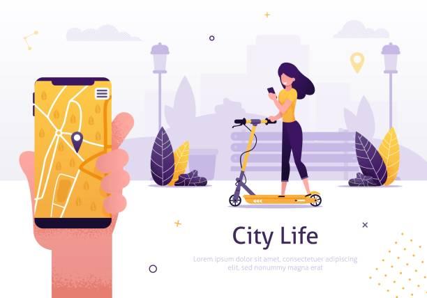 scooter sharing und rent service für mobile app - frau handy stock-grafiken, -clipart, -cartoons und -symbole