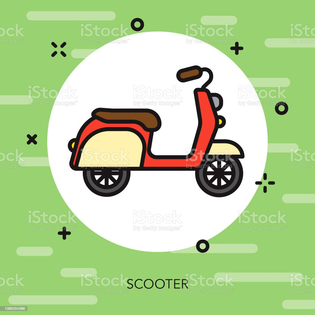 Scooter Thin Line Italy Icon vector art illustration