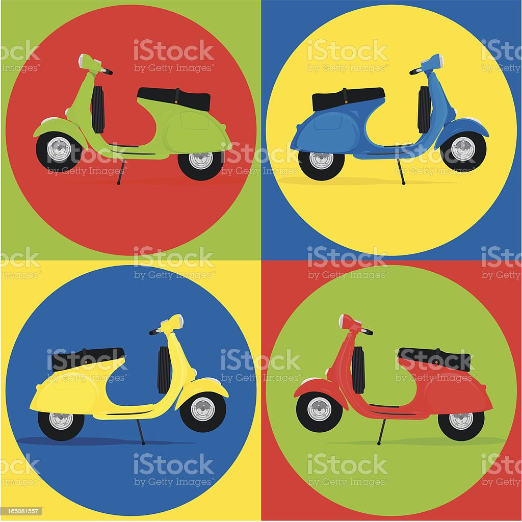 Pattern vespa scooter vector art illustration